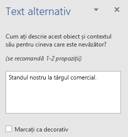 Panoul text alternativ Word Win32 pentru forme