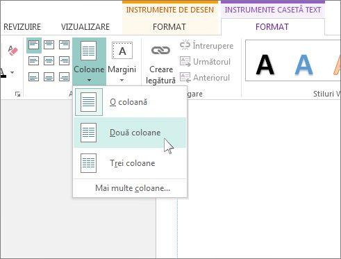 Captură de ecran cu Instrumente casetă text Coloane în Publisher.