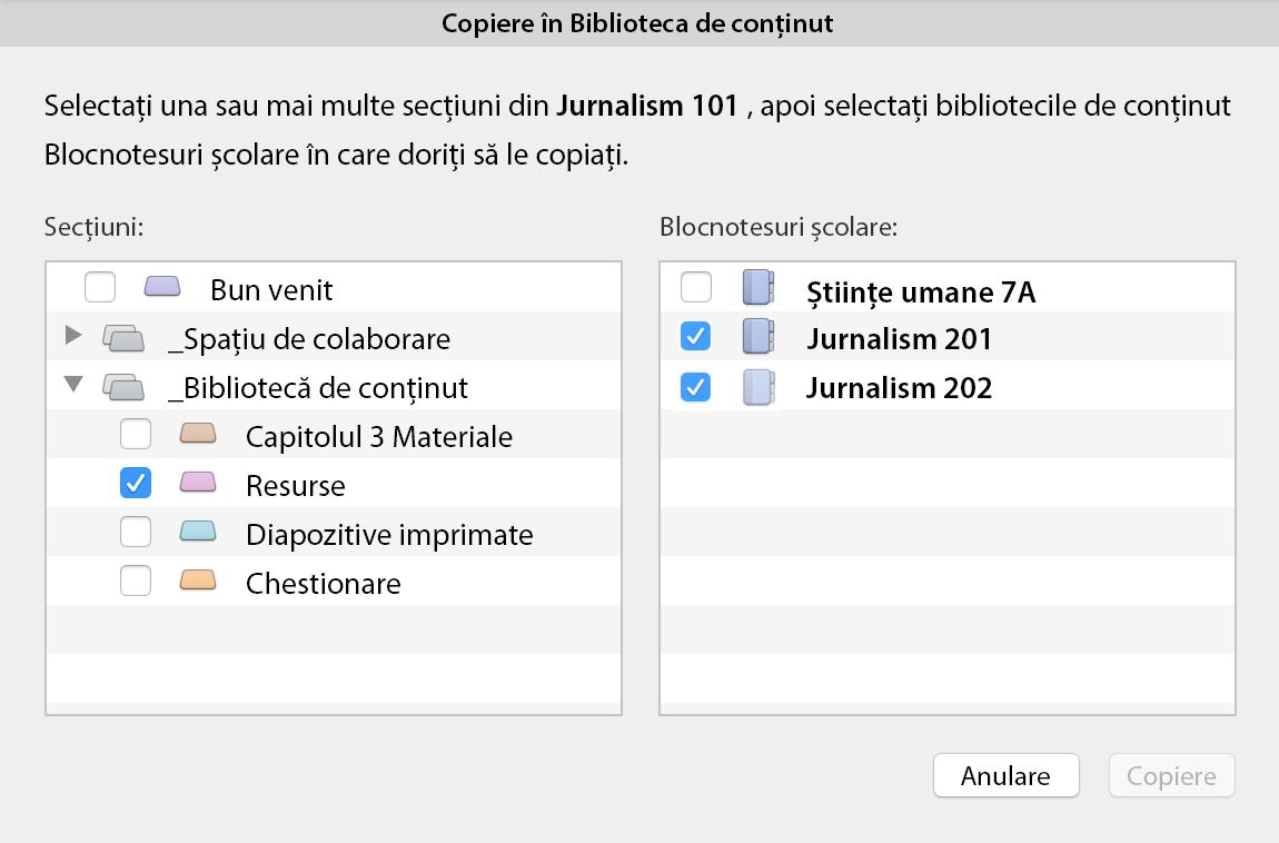 Copierea în caseta de dialog bibliotecă de conținut