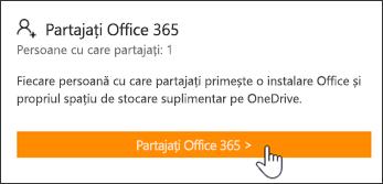 """Secțiunea """"Partajare Office 365"""" a paginii Contul meu înainte ca abonamentul să fie partajat cu cineva."""
