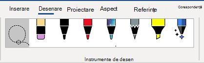 Fila Instrumente de desen din panglica Word.
