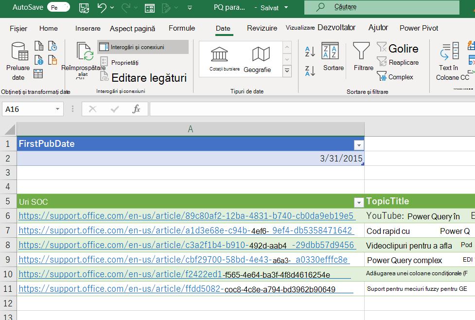 Registru de lucru Excel afișând un tabel de parametri și datele încărcate din Power Query
