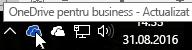Captură de ecran care arată cursorul trecând peste pictograma OneDrive albastră, cu textul OneDrive pentru business.