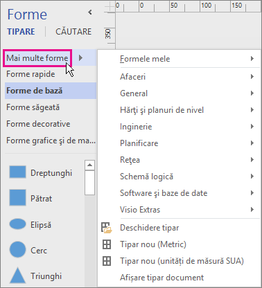 Dacă faceți clic pe Mai multe forme, se afișează un meniu de categorii.