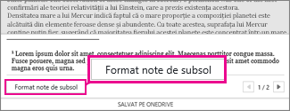 Butonul Formatare note de subsol în nota de editare Note de subsol din Word Online