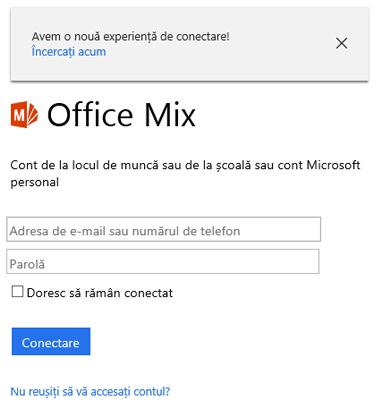 Vi se va solicita să conectați-vă utilizând contul Office 365.