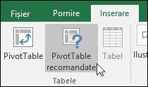 Accesați Inserare > PivotTable recomandate pentru ca Excel să creeze un raport PivotTable pentru dvs.