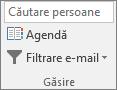 În Outlook, pe fila pornire, în grupul Găsire, alegeți agenda.