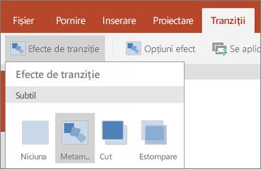 Afișează tranziții > trecerea efecte > Morph în PowerPoint pentru Android.