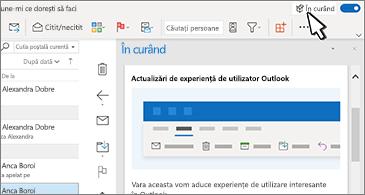 Inbox cu panoul În curând în partea dreaptă a ecranului