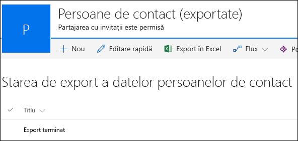 Listă SharePoint cu înregistrarea intitulată Export finalizat