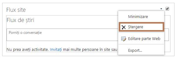 Ștergerea unei părți Web