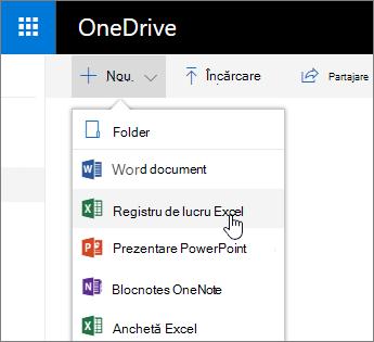 OneDrive pe noul meniu, comanda registru de lucru Excel