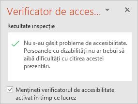 """Panoul Verificator de accesibilitate cu caseta de selectare """"Mențineți verificatorul de accesibilitate activat în timp ce lucrez"""""""