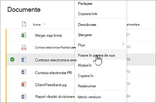 Faceți clic pe fixare în sus pentru a evidenția un document