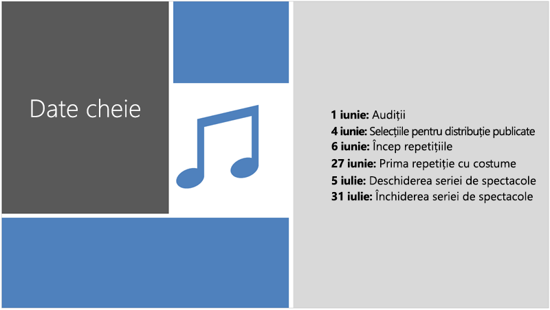 Diapozitiv eșantion afișând o cronologie text la care PowerPoint Designer a adăugat o ilustrație și retușuri de proiectare