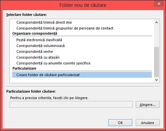 Selectați Creare folder de căutare particularizat