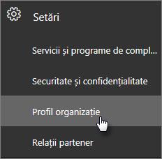 În centrul de administrare, navigați la Setări, apoi la Profil organizație.