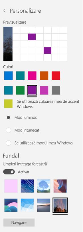 Alegeți o imagine de fundal și culori particularizate pentru aplicațiile