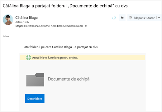 Trimiterea prin e-mail cu linkul pentru a partaja folderul OneDrive