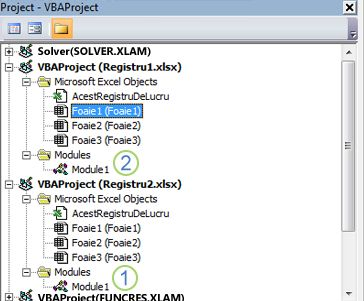 explorator proiecte VBA