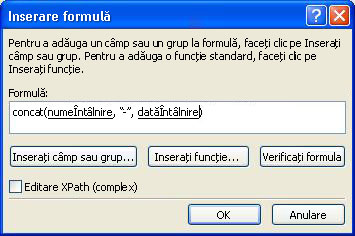 The finished formula in the Insert Formula dialog box that builds the form name