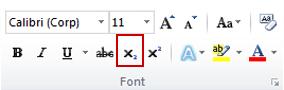 comanda indice din grupul font