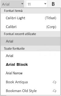 Listă de fonturi
