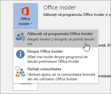 Butonul asociere la Office Insider