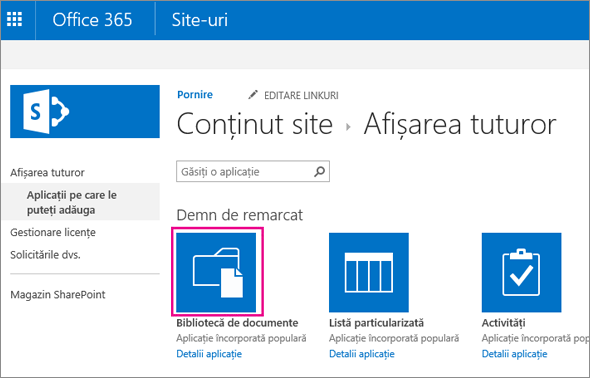 Pentru a adăuga un nou container de stocare a documentelor, pe pagina Aplicațiile dvs., alegeți dala Documente.