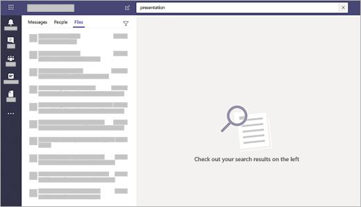 Caseta de căutare Microsoft teams