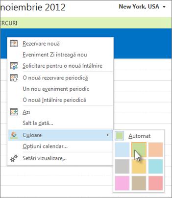 Faceți clic cu butonul din dreapta pe calendar, apoi faceți clic pe Culoare