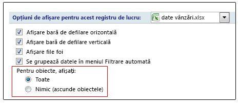 Opțiuni pentru afișarea și ascunderea obiectelor în caseta de dialog Opțiuni Excel
