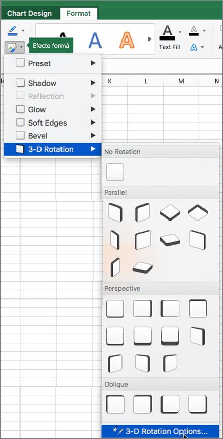 Opțiuni de rotație 3-D