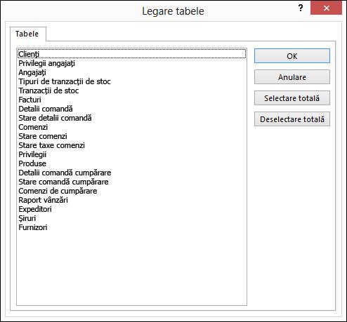 Selectați un tabel de legat din caseta de dialog Legare tabele