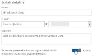 Captură de ecran: Activați de comutare pentru a permite membrilor externe pentru a trimite un dl
