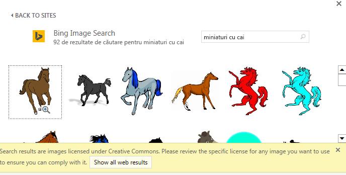 """Dacă alegeți să căutați """"clip grafic cal"""", vi se oferă o varietate de imagini sub o licență Creative Commons."""