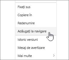 Opțiunea Adăugare la navigare de la o listă de pagini