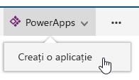 Faceți clic pe PowerApps și apoi faceți clic pe Creați o aplicație.