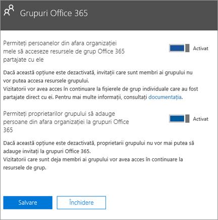 Permiteți persoanelor din afara organizației mele să aibă acces la resursele și grupurile Office 365