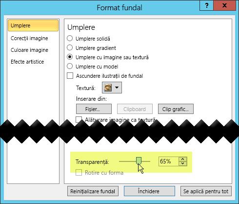 Caseta de dialog Formatare fundal are o bară de glisor Transparență pentru ajustarea unei imagini
