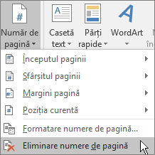Alegeți fila Inserare și, în grupul Antet și subsol, alegeți Număr de pagină, iar apoi Eliminare numere de pagină.
