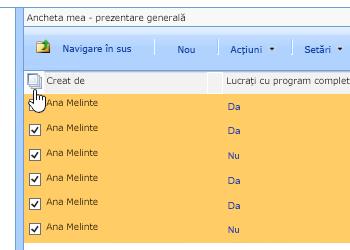 În ecranul Manager de site-ului, cu anchetă selectată, faceți clic pe pictograma Selectare totală.