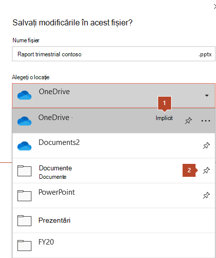 Caseta de dialog Salvare din Microsoft Office 365 afișând o listă de foldere.