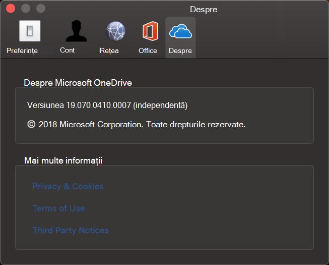 Interfața utilizator a aplicației Despre OneDrive pentru Mac