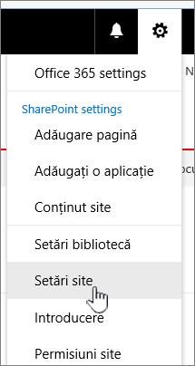 Setări site din biblioteca de documente