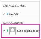 Outlook Web App cu un calendar de cutie poștală partajată selectat