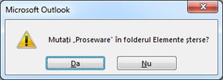 caseta de dialog de confirmare a ștergerii folderului