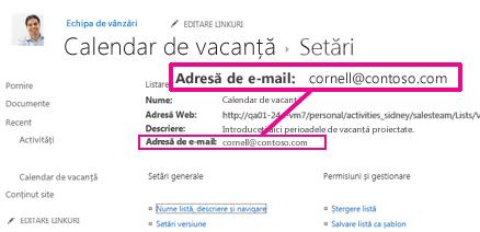 Adăugarea fișierelor prin trimiterea e-mailului