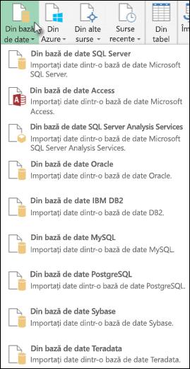 Opțiuni de interogare din baza de date Power